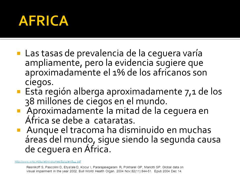 AFRICA Las tasas de prevalencia de la ceguera varía ampliamente, pero la evidencia sugiere que aproximadamente el 1% de los africanos son ciegos.