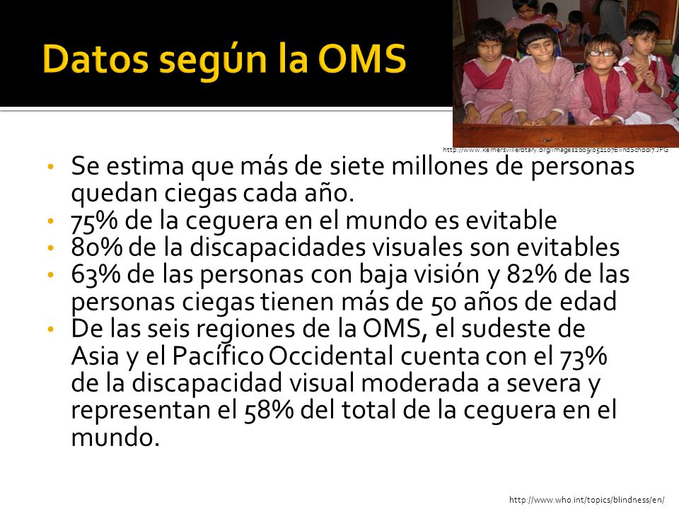 Datos según la OMShttp://www.kernersvillerotary.org/images2009/052107BlindSchool7.JPG.