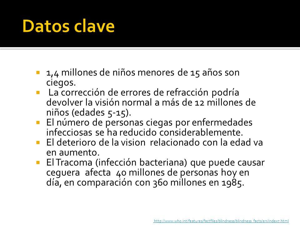 Datos clave 1,4 millones de niños menores de 15 años son ciegos.