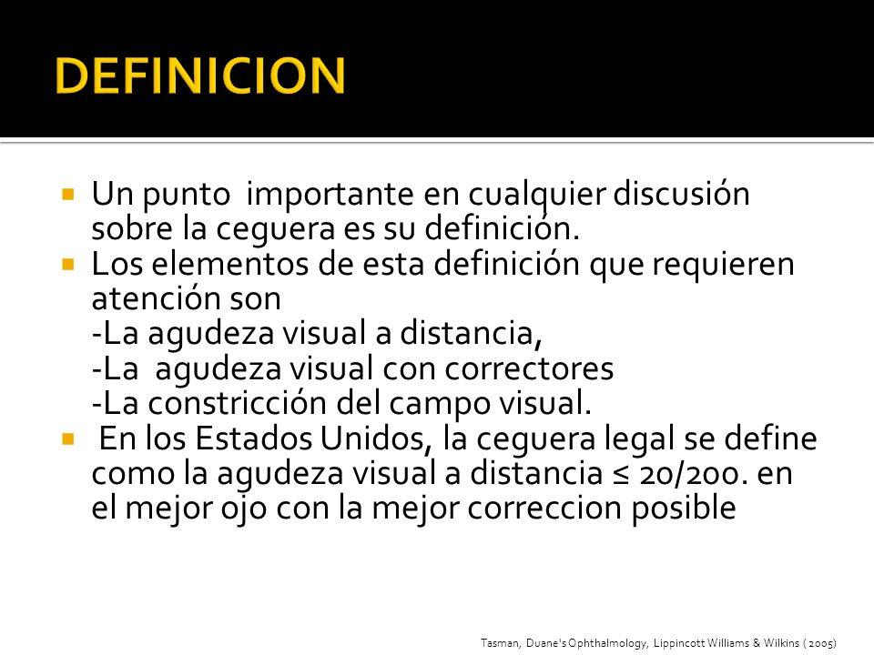 DEFINICION Un punto importante en cualquier discusión sobre la ceguera es su definición.