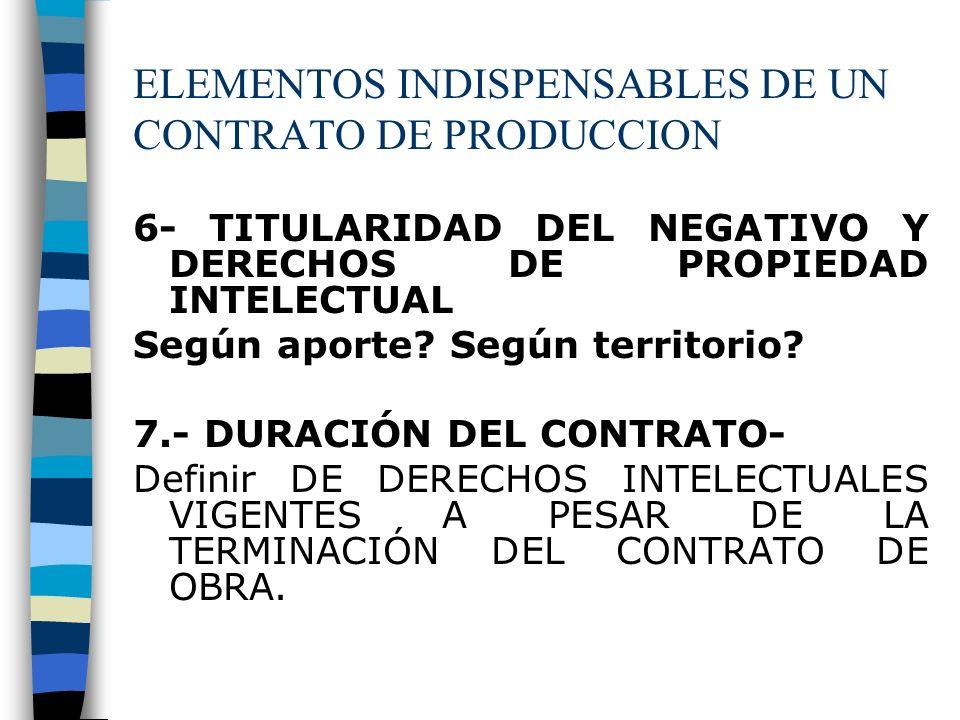 ELEMENTOS INDISPENSABLES DE UN CONTRATO DE PRODUCCION