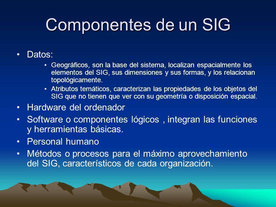 Componentes de un SIG Datos: Hardware del ordenador