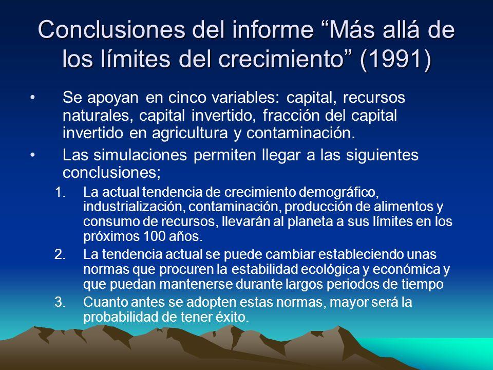 Conclusiones del informe Más allá de los límites del crecimiento (1991)