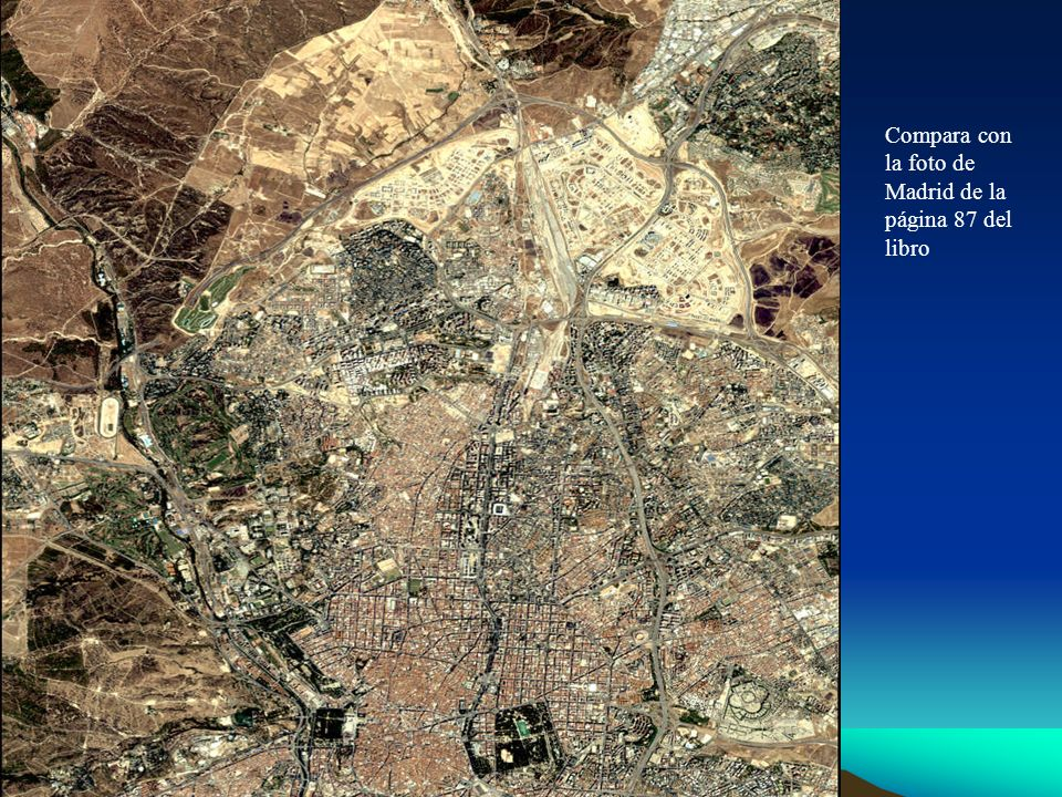 Compara con la foto de Madrid de la página 87 del libro