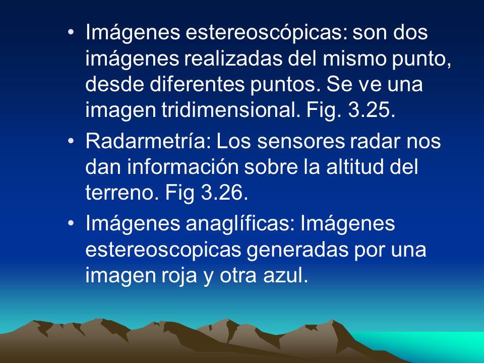 Imágenes estereoscópicas: son dos imágenes realizadas del mismo punto, desde diferentes puntos. Se ve una imagen tridimensional. Fig. 3.25.