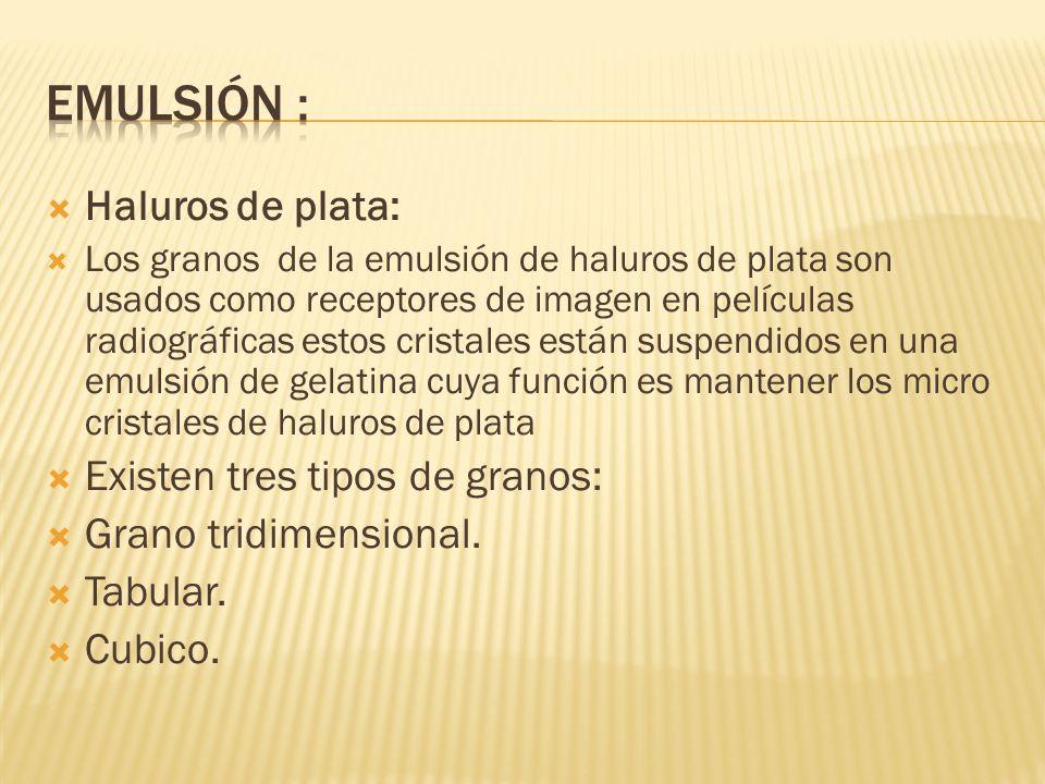 Emulsión : Haluros de plata: Existen tres tipos de granos: