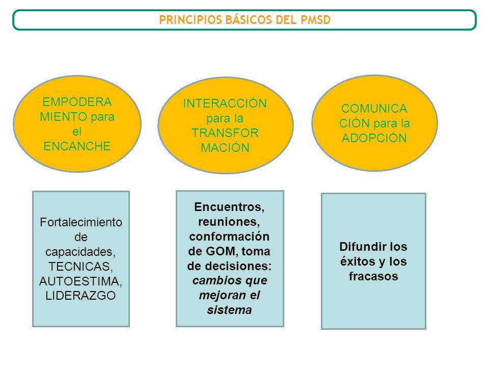 PRINCIPIOS BÁSICOS DEL PMSD Difundir los éxitos y los fracasos