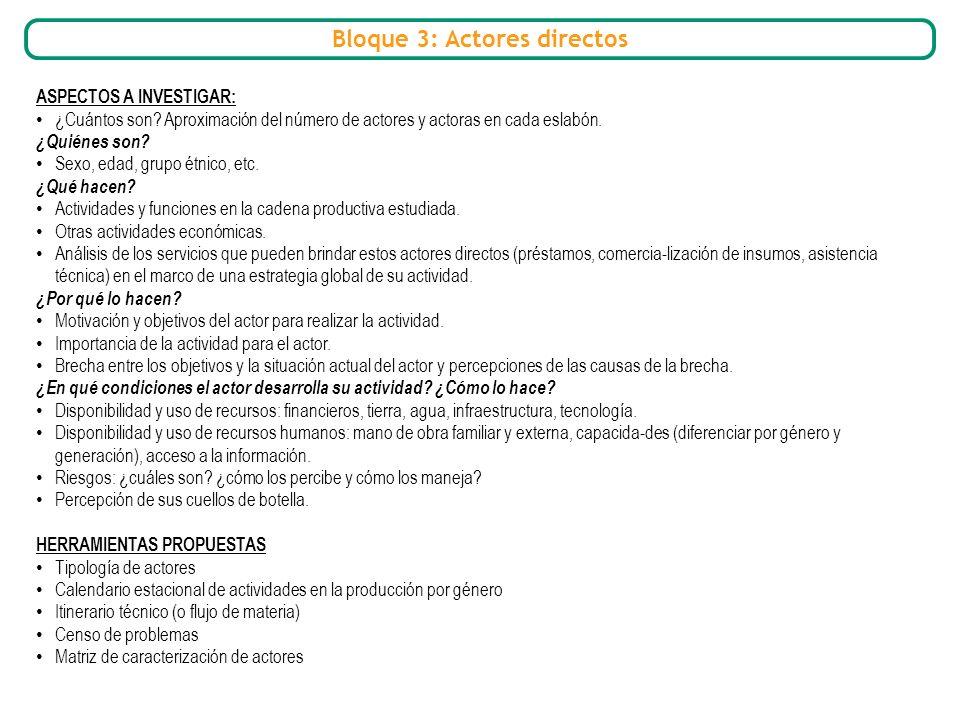 Bloque 3: Actores directos