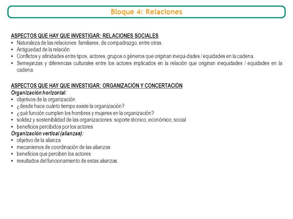 Bloque 4: Relaciones ASPECTOS QUE HAY QUE INVESTIGAR: RELACIONES SOCIALES. Naturaleza de las relaciones: familiares, de compadrazgo, entre otras.
