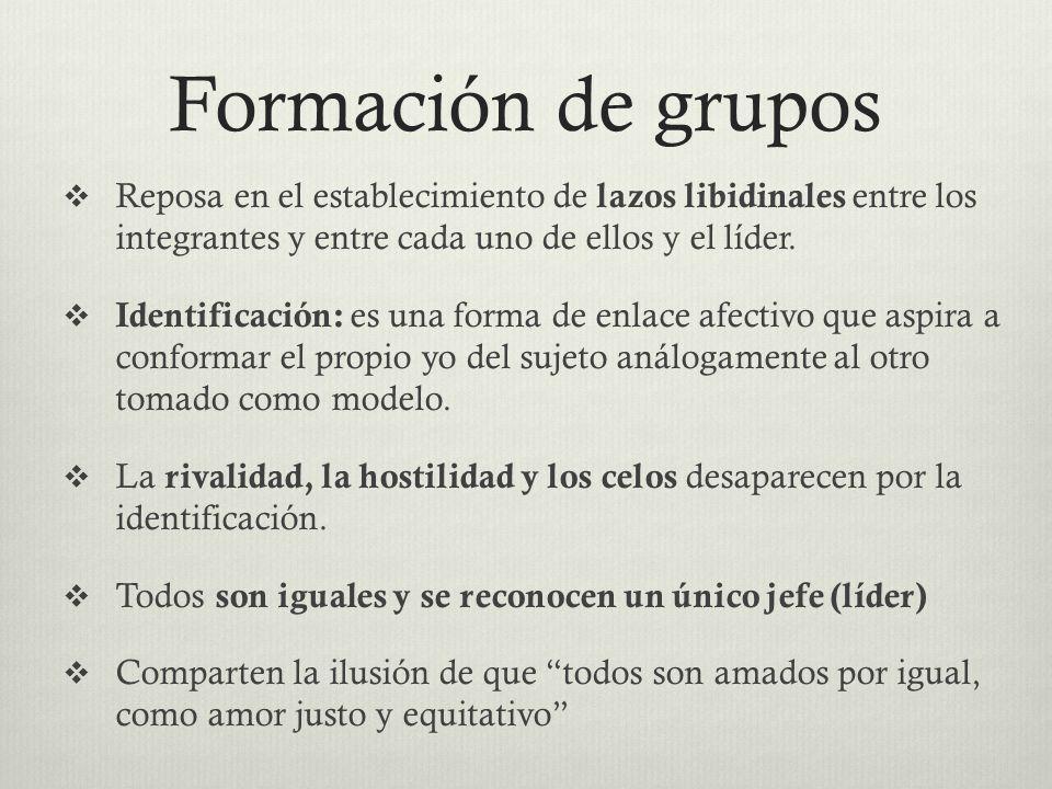 Formación de gruposReposa en el establecimiento de lazos libidinales entre los integrantes y entre cada uno de ellos y el líder.