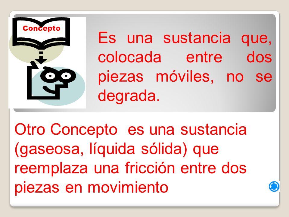 Concepto Es una sustancia que, colocada entre dos piezas móviles, no se degrada.