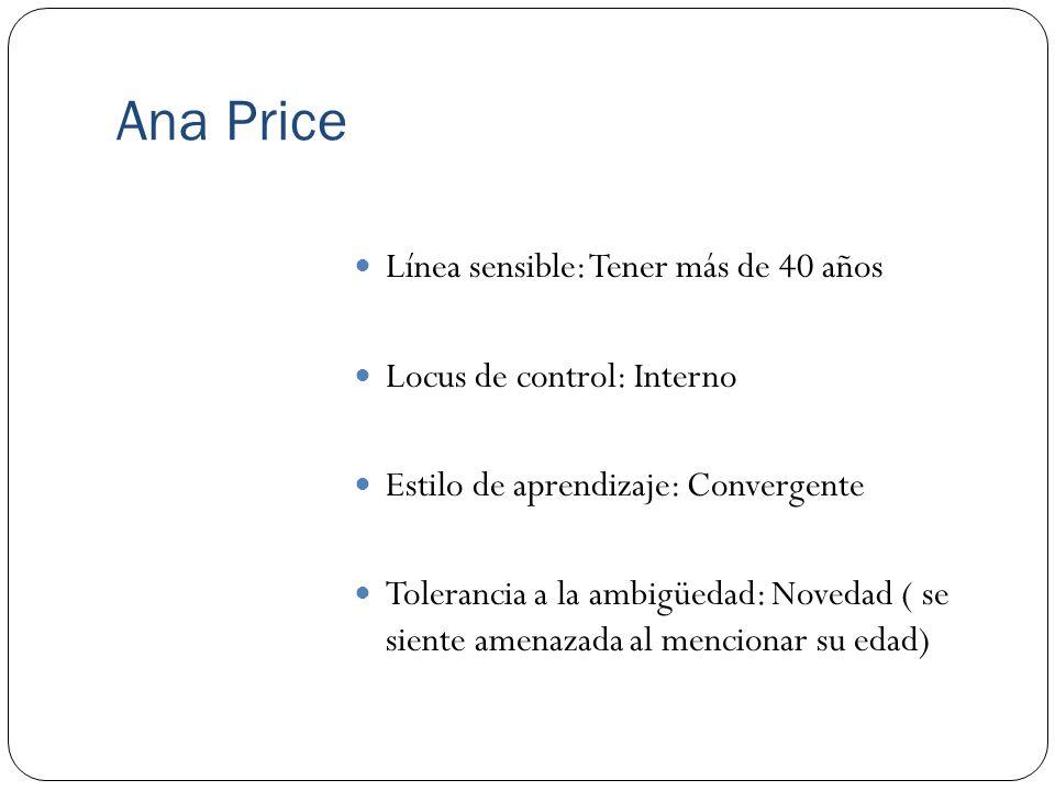 Ana Price Línea sensible: Tener más de 40 años