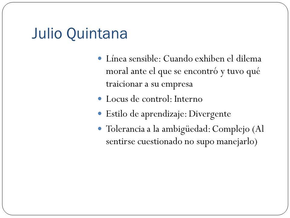 Julio Quintana Línea sensible: Cuando exhiben el dilema moral ante el que se encontró y tuvo qué traicionar a su empresa.