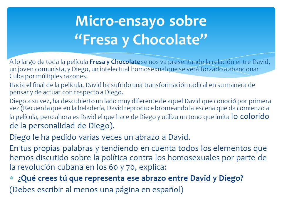 Micro-ensayo sobre Fresa y Chocolate