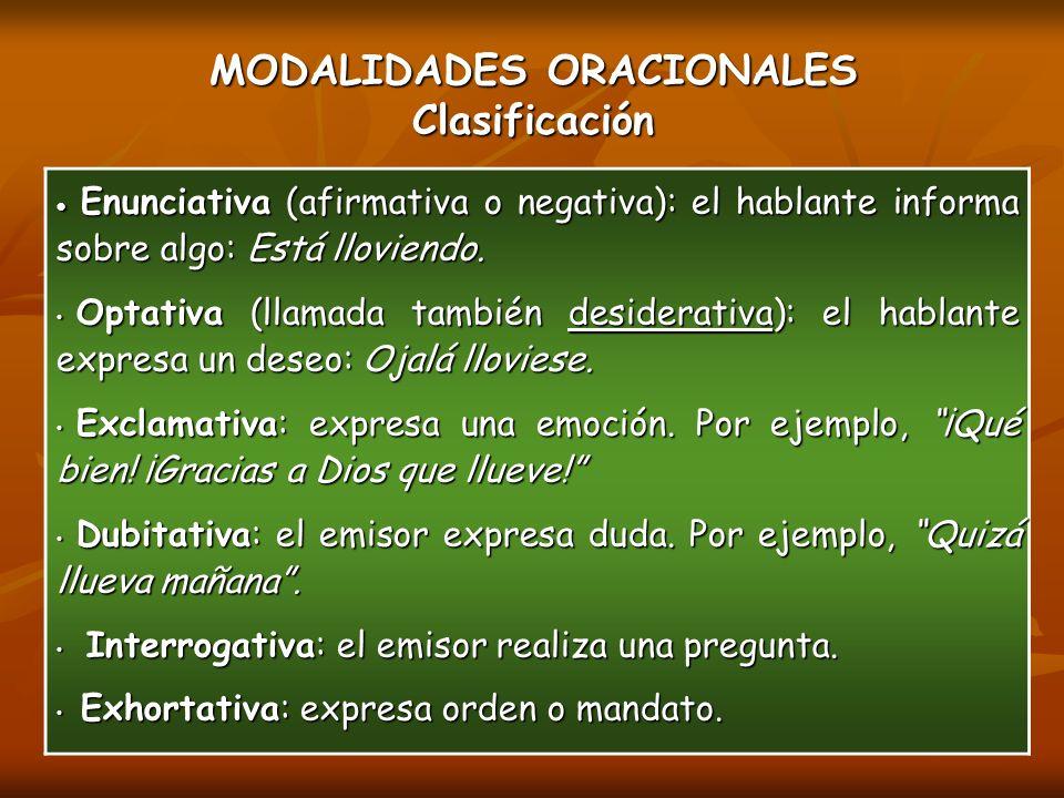 MODALIDADES ORACIONALES Clasificación