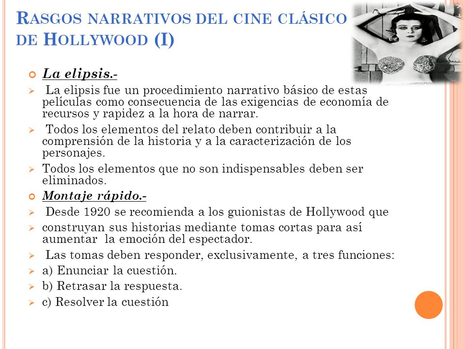 Rasgos narrativos del cine clásico de Hollywood (I)