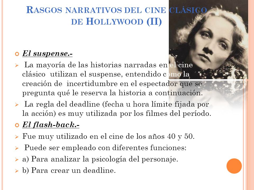 Rasgos narrativos del cine clásico de Hollywood (II)