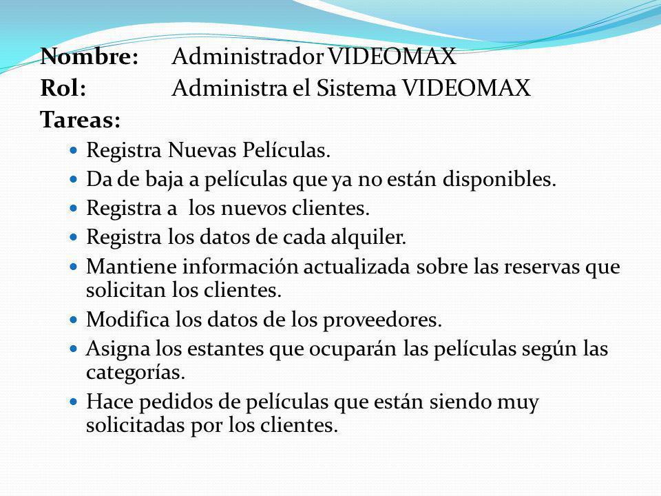 Nombre: Administrador VIDEOMAX Rol: Administra el Sistema VIDEOMAX