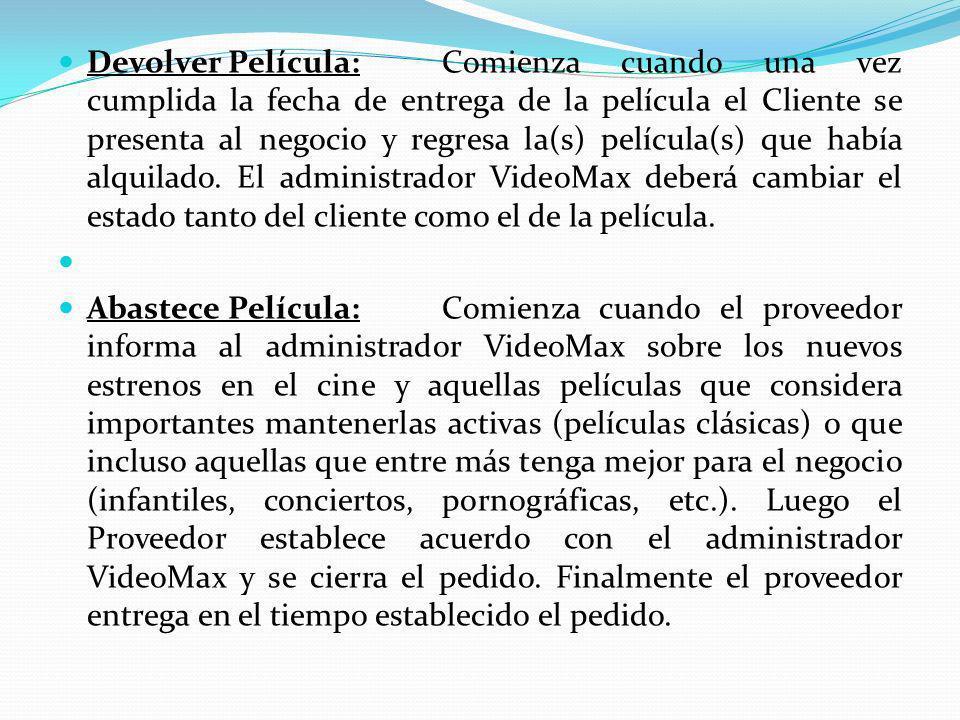 Devolver Película: Comienza cuando una vez cumplida la fecha de entrega de la película el Cliente se presenta al negocio y regresa la(s) película(s) que había alquilado. El administrador VideoMax deberá cambiar el estado tanto del cliente como el de la película.