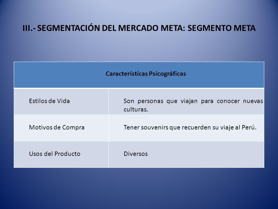 III.- SEGMENTACIÓN DEL MERCADO META: SEGMENTO META