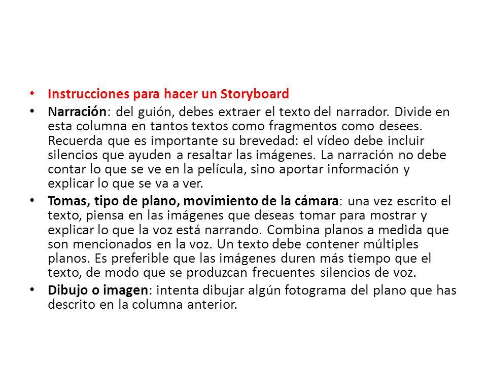 Instrucciones para hacer un Storyboard