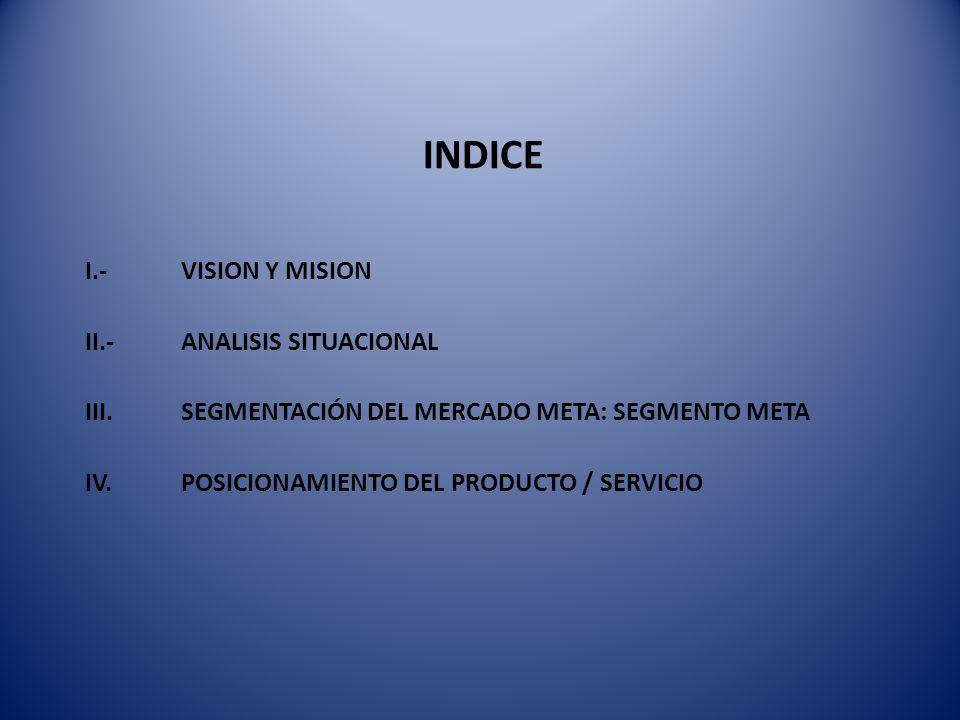 INDICE I.- VISION Y MISION II.- ANALISIS SITUACIONAL