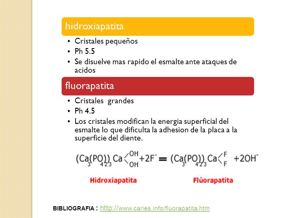 BIBLIOGRAFIA : http://www.caries.info/fluorapatita.htm