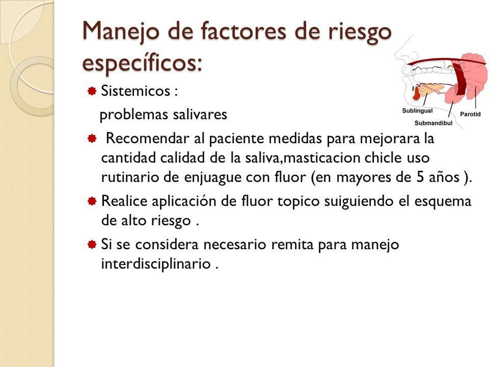 Manejo de factores de riesgo específicos: