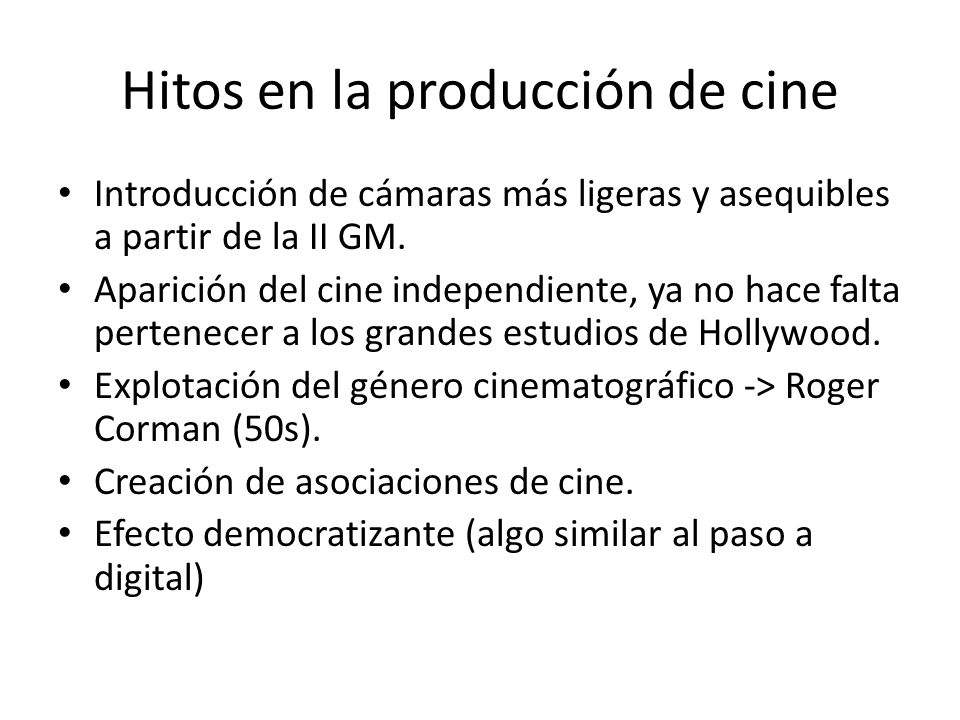 Hitos en la producción de cine