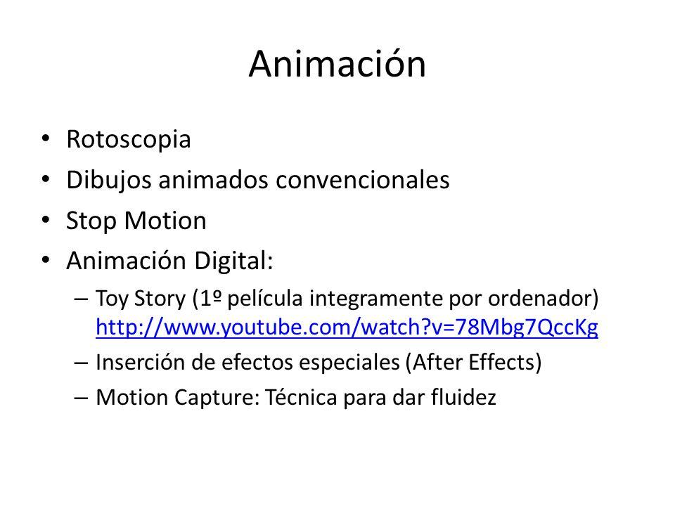 Animación Rotoscopia Dibujos animados convencionales Stop Motion