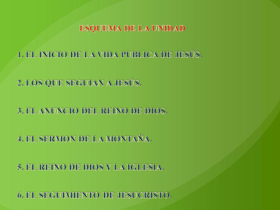 ESQUEMA DE LA UNIDAD 1. EL INICIO DE LA VIDA PUBLICA DE JESÚS. 2. LOS QUE SEGUIAN A JESÚS. 3. EL ANUNCIO DEL REINO DE DIOS.