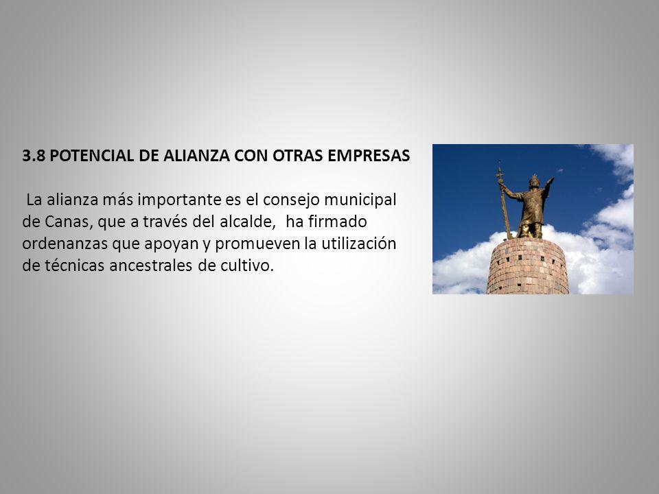 3.8 POTENCIAL DE ALIANZA CON OTRAS EMPRESAS La alianza más importante es el consejo municipal de Canas, que a través del alcalde, ha firmado ordenanzas que apoyan y promueven la utilización de técnicas ancestrales de cultivo.