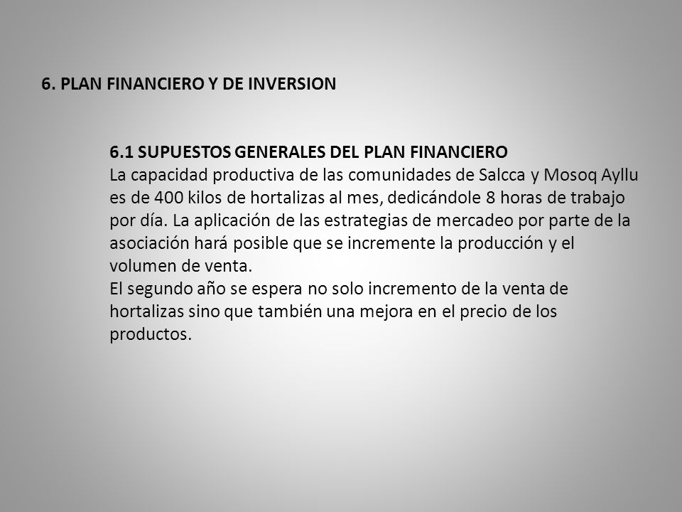 6. PLAN FINANCIERO Y DE INVERSION. 6