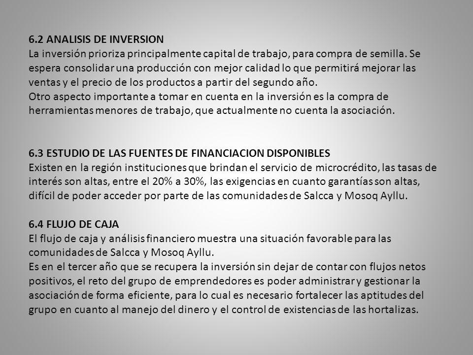 6.2 ANALISIS DE INVERSION La inversión prioriza principalmente capital de trabajo, para compra de semilla.