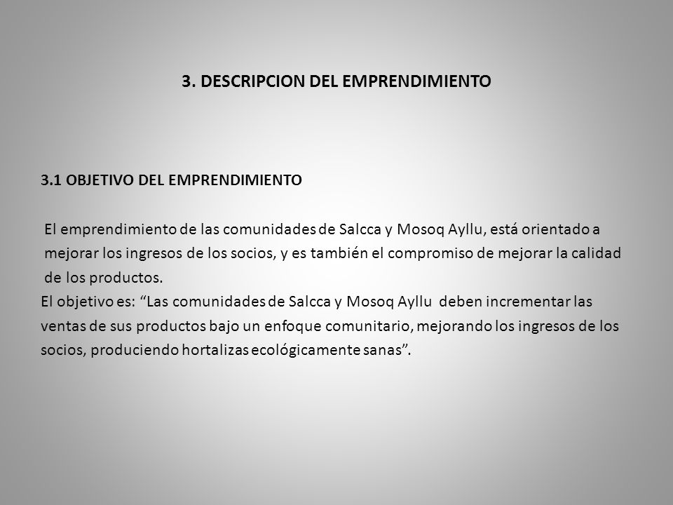 3. DESCRIPCION DEL EMPRENDIMIENTO
