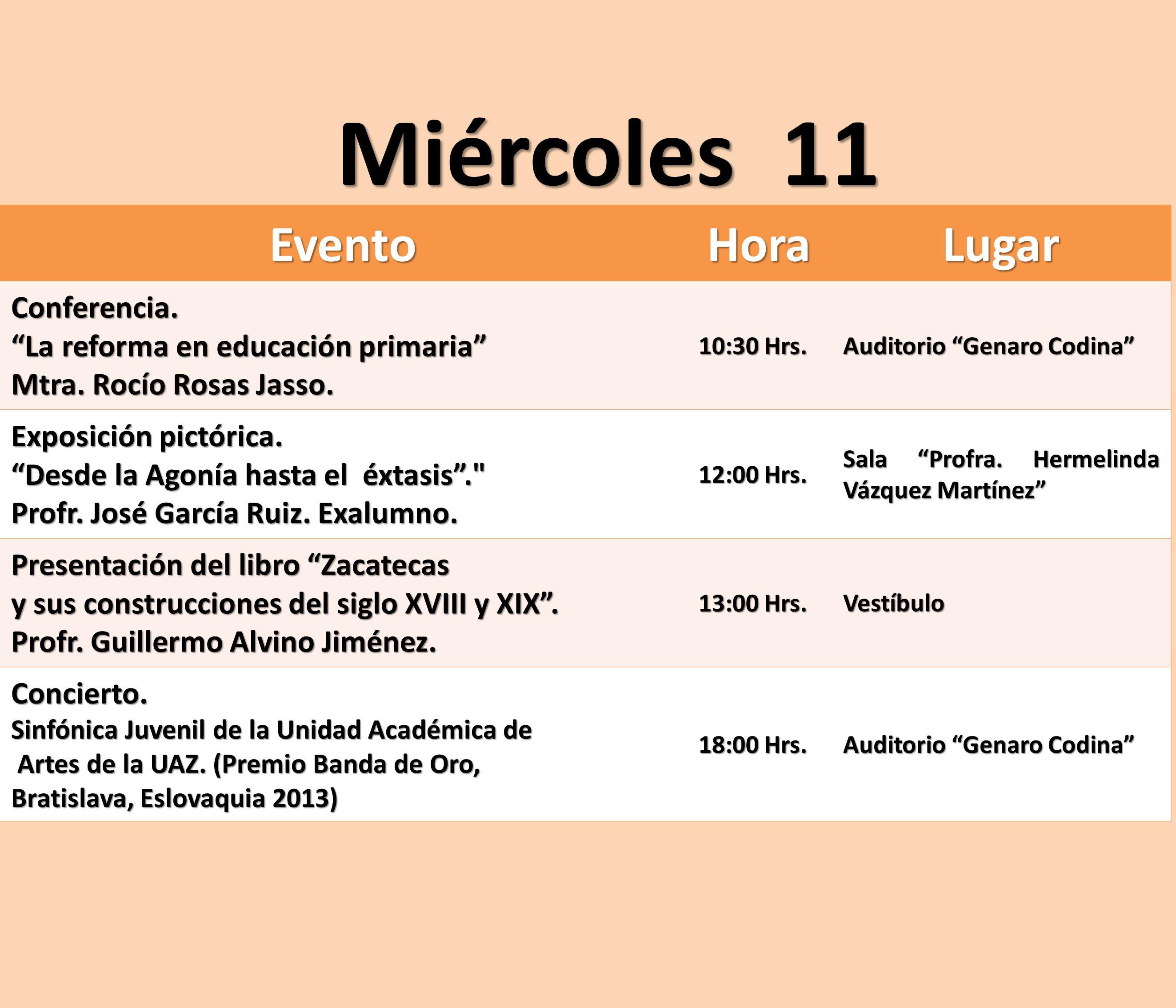 Miércoles 11 Evento Hora Lugar Conferencia.