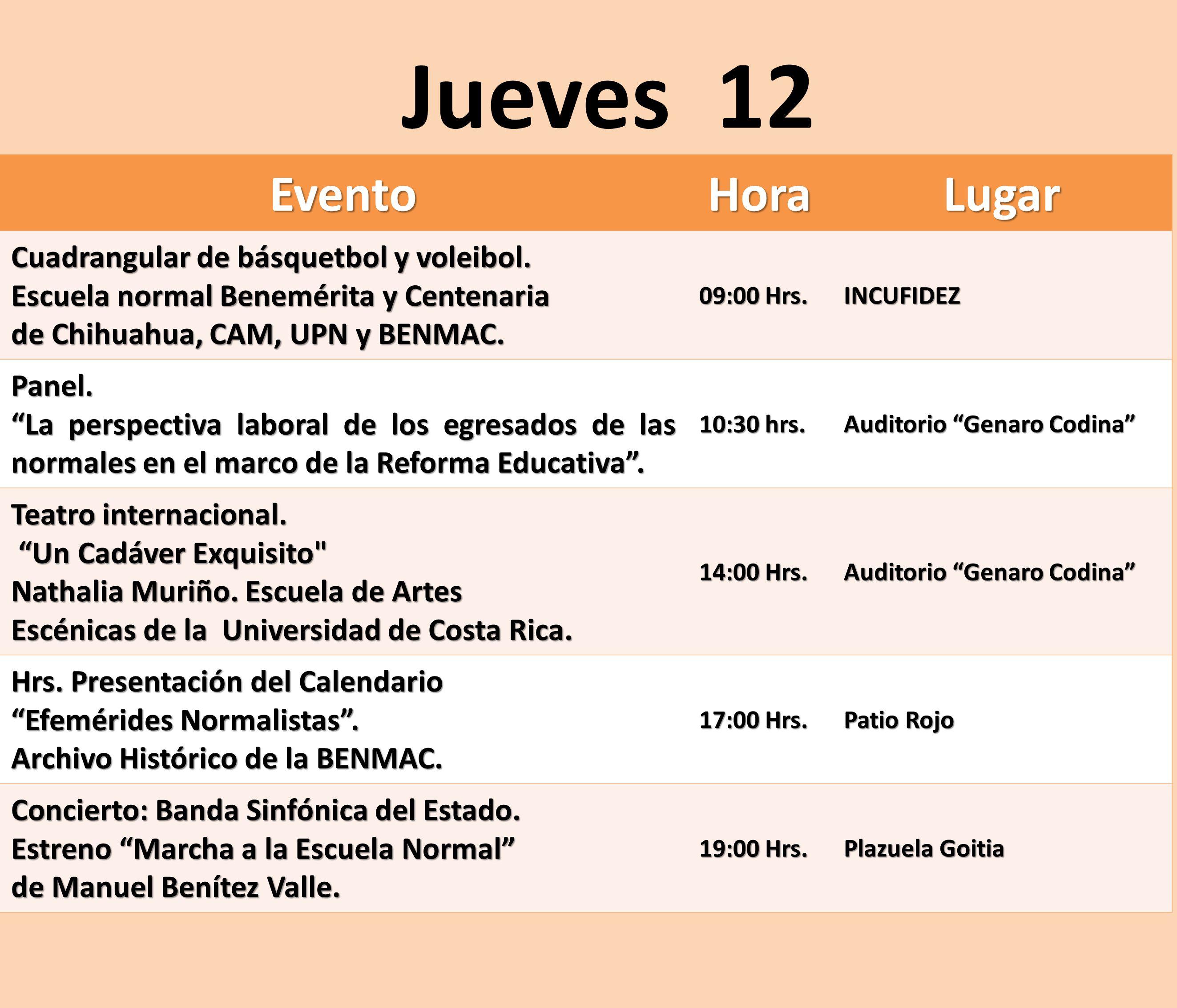 Jueves 12 Evento Hora Lugar Cuadrangular de básquetbol y voleibol.