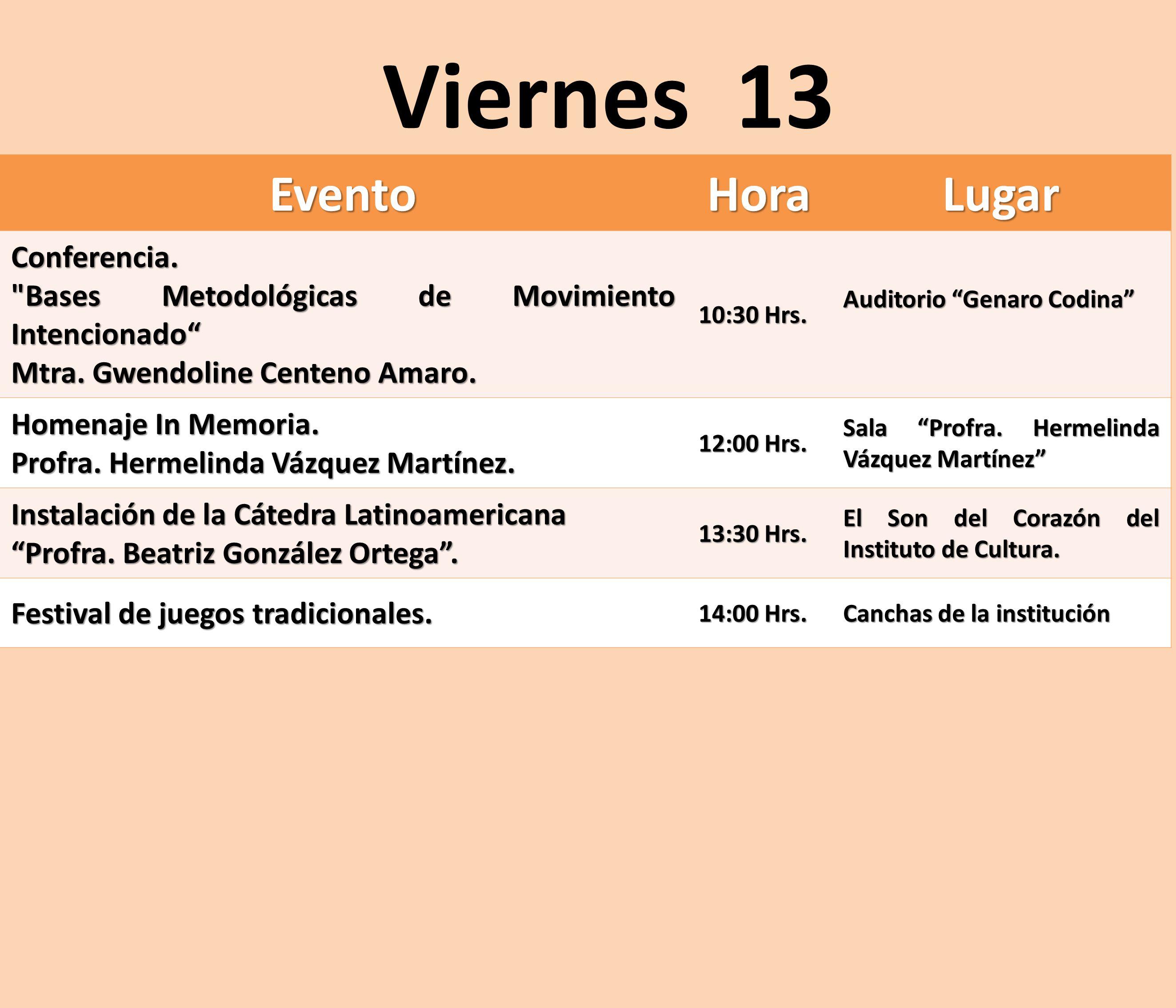 Viernes 13 Evento Hora Lugar Conferencia.