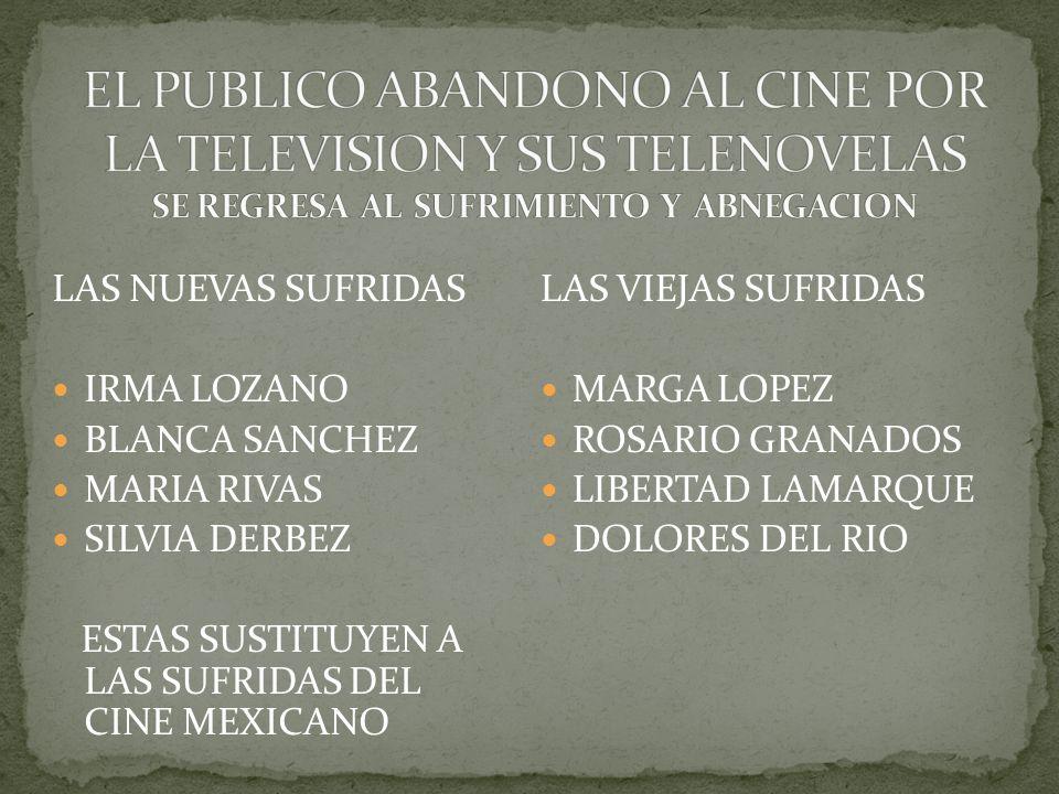 EL PUBLICO ABANDONO AL CINE POR LA TELEVISION Y SUS TELENOVELAS SE REGRESA AL SUFRIMIENTO Y ABNEGACION