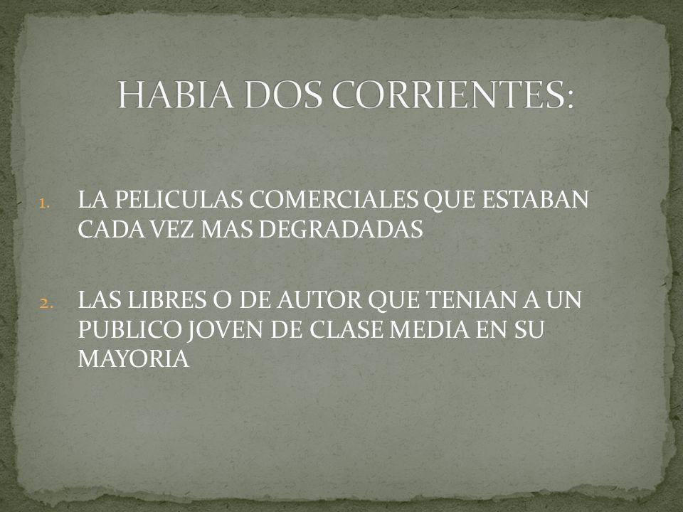 HABIA DOS CORRIENTES: LA PELICULAS COMERCIALES QUE ESTABAN CADA VEZ MAS DEGRADADAS.