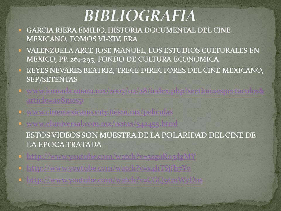 BIBLIOGRAFIA GARCIA RIERA EMILIO, HISTORIA DOCUMENTAL DEL CINE MEXICANO, TOMOS VI-XIV, ERA.