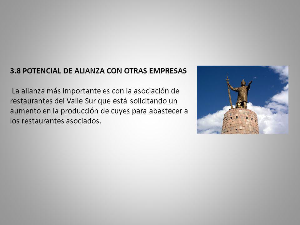 3.8 POTENCIAL DE ALIANZA CON OTRAS EMPRESAS La alianza más importante es con la asociación de restaurantes del Valle Sur que está solicitando un aumento en la producción de cuyes para abastecer a los restaurantes asociados.
