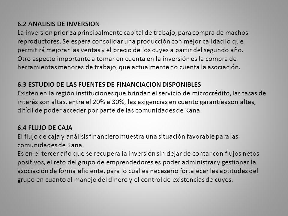 6.2 ANALISIS DE INVERSION La inversión prioriza principalmente capital de trabajo, para compra de machos reproductores.