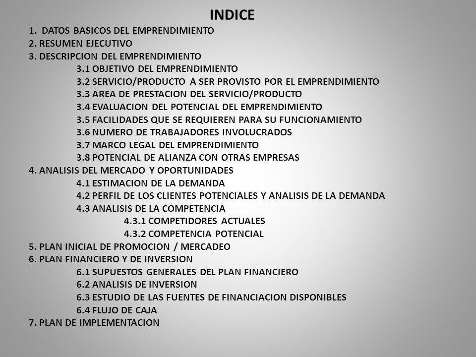 INDICE 1. DATOS BASICOS DEL EMPRENDIMIENTO 2. RESUMEN EJECUTIVO 3