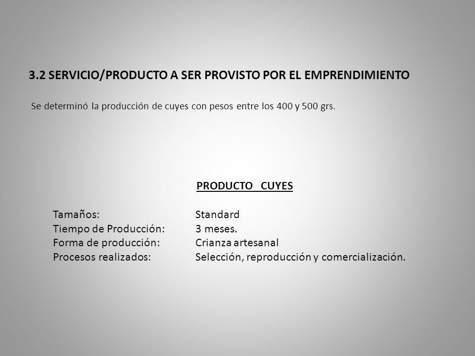 3.2 SERVICIO/PRODUCTO A SER PROVISTO POR EL EMPRENDIMIENTO Se determinó la producción de cuyes con pesos entre los 400 y 500 grs.