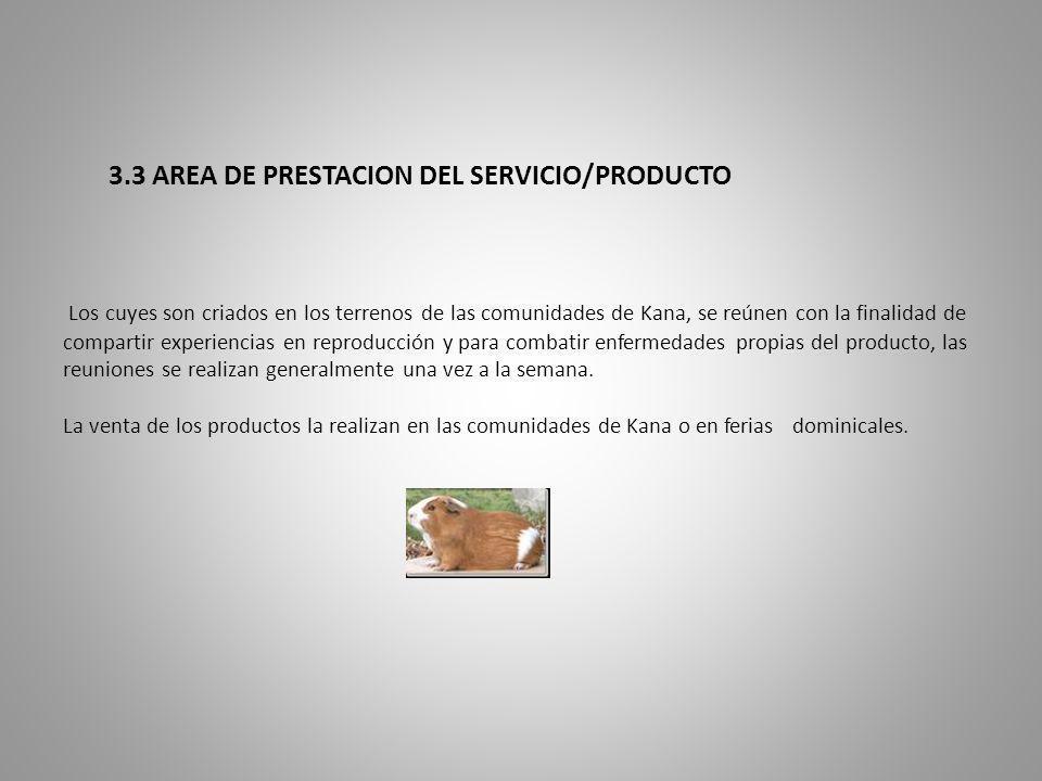 3.3 AREA DE PRESTACION DEL SERVICIO/PRODUCTO Los cuyes son criados en los terrenos de las comunidades de Kana, se reúnen con la finalidad de compartir experiencias en reproducción y para combatir enfermedades propias del producto, las reuniones se realizan generalmente una vez a la semana.