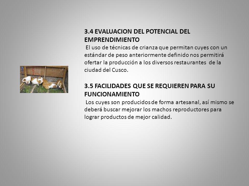 3.4 EVALUACION DEL POTENCIAL DEL EMPRENDIMIENTO El uso de técnicas de crianza que permitan cuyes con un estándar de peso anteriormente definido nos permitirá ofertar la producción a los diversos restaurantes de la ciudad del Cusco.
