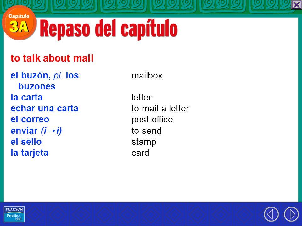 to talk about mail el buzón, pl. los buzones la carta echar una carta