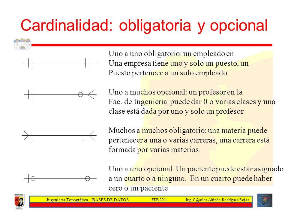 Cardinalidad: obligatoria y opcional