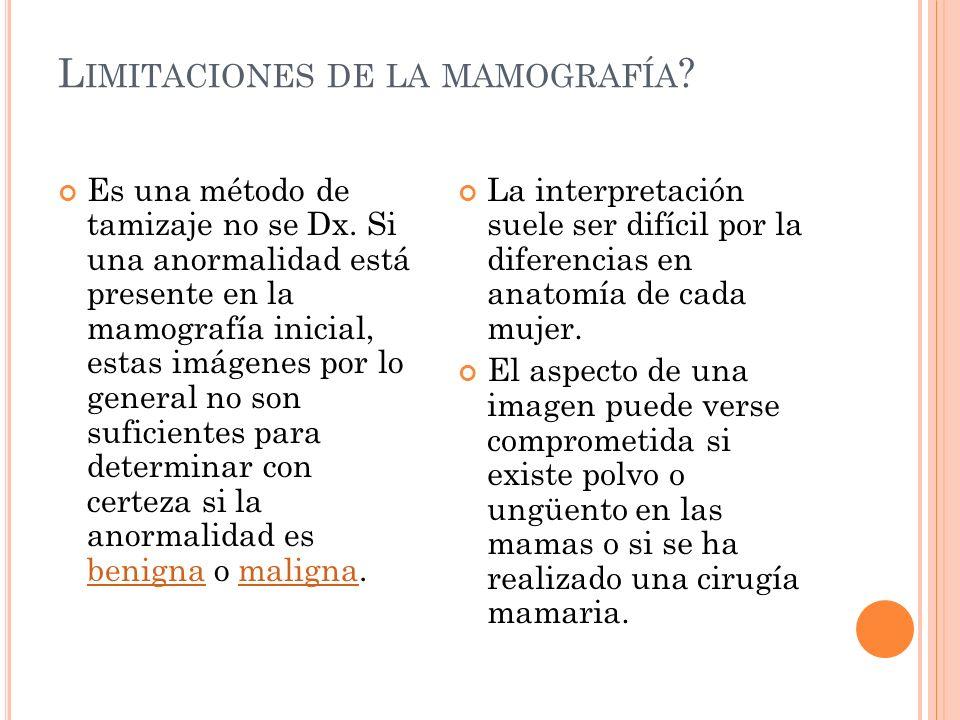 Limitaciones de la mamografía